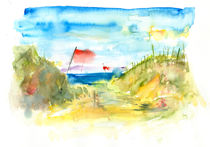Aquarell Seestrand mit Dünen von liga-visuell
