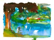 Aquarell Baum mit See Motiv 2, Schleswig Holstein von liga-visuell