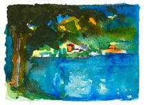 Aquarell Baum mit See Motiv 1, Schleswig Holstein von liga-visuell