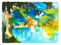 Aquarell Baum mit See Motiv 3, Schleswig Holstein von liga-visuell