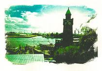 Hamburg Landungsbrücken mit Blick auf Elbe von liga-visuell