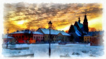 Stadt-im-winter-fine-art-aquarell