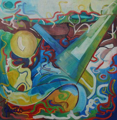 Zwischen-himmel-und-erde-oil-on-canvas-100x100cm