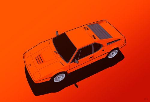 Illu-bmw-m1-orange-poster