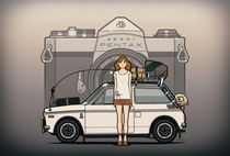 Honda N600 Rally Kei Car With Japanese Asahi Pentax  60's Commercial Girl by monkeycrisisonmars