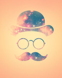 Retro Face with Moustache & Glasses / Universe - Galaxy Hipster (GOLD)) von badbugsart