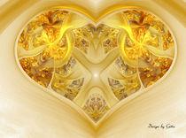 Digital Fraktal Goldenes Herz von bilddesign-by-gitta