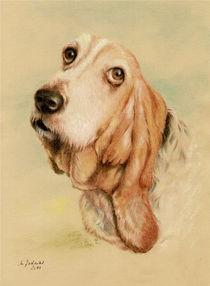 Basset Hound - Hundeportrait handgemalt von Marita Zacharias