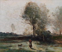 Landscape or by Jean Baptiste Camille Corot