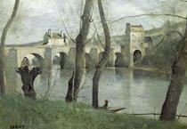 The Bridge at Mantes  by Jean Baptiste Camille Corot
