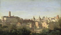 The Forum seen from the Farnese Gardens, Rome von Jean Baptiste Camille Corot