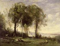 The Goatherds of Castel Gandolfo von Jean Baptiste Camille Corot