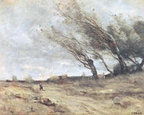 The Gust of Wind von Jean Baptiste Camille Corot
