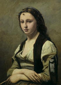 The Woman with the Pearl von Jean Baptiste Camille Corot