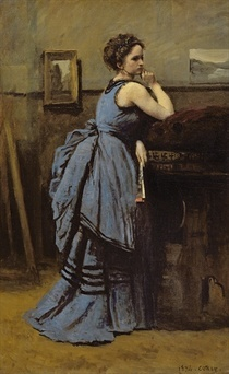 The Woman in Blue von Jean Baptiste Camille Corot