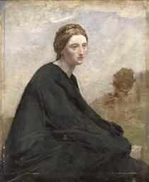 The brooding girl by Jean Baptiste Camille Corot