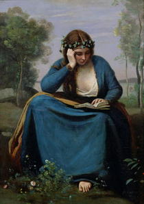 The Reader Crowned with Flowers, or Virgil`s Muse von Jean Baptiste Camille Corot