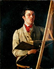 Self Portrait, Sitting next to an Easel by Jean Baptiste Camille Corot