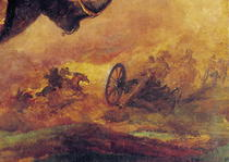 Officer of the Hussars, detail of a cannon on the right by Theodore Gericault