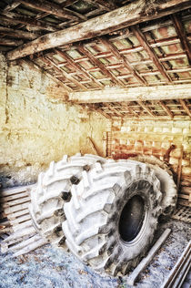 alte Traktor Reifen Scheune Toskana / Tuscany by Thomas Schaefer