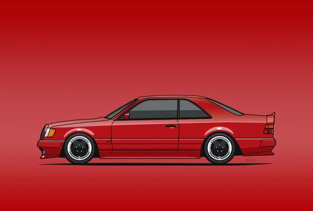 Illu-w124-1992-300ce-amg-red-poster