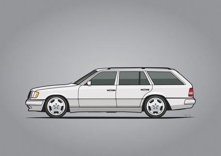 Mercedes-w124-wagon-white-poster