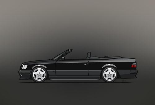 Illu-w124-1992-300ce-cabrio-black-poster