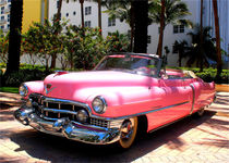 American classic car im Retro Art Deco District in Miami Beach by Marita Zacharias