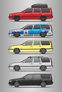 Stack of Volvo 850R 855R T5 Turbo Station Wagons von monkeycrisisonmars