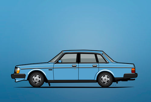 Illu-volvo-244-sedan-blue-poster