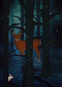 Winter Woods at Night by Sybille Sterk