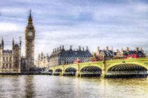 Westminster Bridge and London Buses Art von David Pyatt