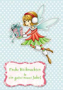 Weihnachtskarte WInterfee Viola by Gosia Kollek