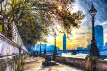 River Thames Path Watercolour by David Pyatt