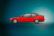 Illu-bmw-e36-316i-coupe-red-poster