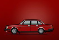 Illu-volvo-244-sedan-red-poster