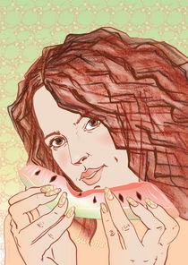 Summertime - Girl with Watermelon von illuscientia