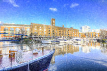 St Katherines Dock London Snow by David Pyatt