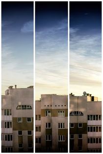 Modern Industrial Housing in Black and White Triptych von John Williams