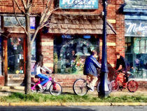 Metuchen NJ - Bicyclists on Main Street by Susan Savad