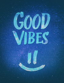 Good Vibes - Funny Smiley Statement / Happy Face (Blue Stars Edit) von badbugsart