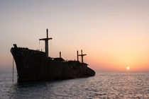 The Greek Ship Wreckage in Kish Island at Sunset by Masoud Rezaeipoor