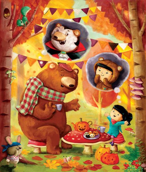 Halloween-tea-party-girl-and-bear-r