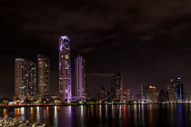 Panama city skyline at night by ebjofrie