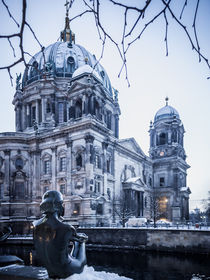 Berliner Dom mit Schnee von Franziska Mohr