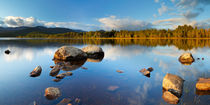 Still lake in early morning light, Loch Morlich, Cairngorms, Scotland by Sara Winter