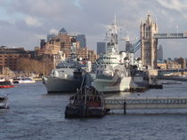 Warships On The Thames by Malcolm Snook