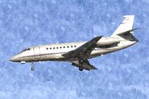 Dassault Falcon 2000 Jet Watercolour von David Pyatt