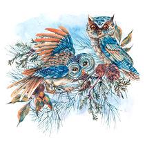 Watercolor Illustration with owls by Varvara Kurakina