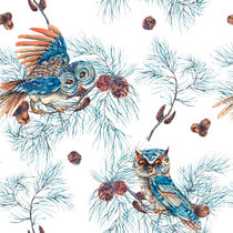 Winter Watercolor Christmas Seamless Pattern with Owls, Tree Branches, Fir Cones and Leaves von Varvara Kurakina